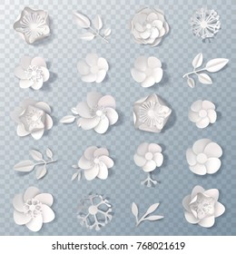 Set of realistic delicate white paper flowers and leaves isolated on transparent background 3d vector illustration