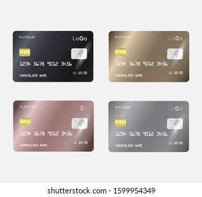 Set of Realistic detailed templates design for Debit card, Credit card. ATM card mockup with gold metal gradient chip.