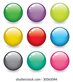 set of realistic, dimensional, colorful, vector spheres