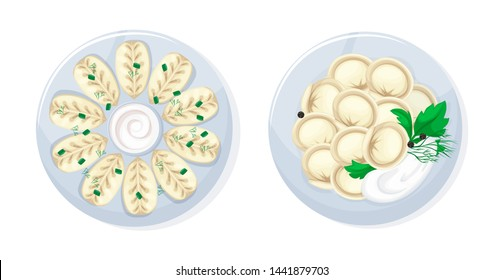 Set of realistic dishes from meat and dough food, caucasian russian kitchen traditional tasty food kurze and dumplings. National cuisine isolated icons vector illustration