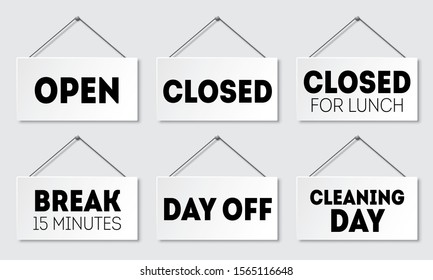 Set of realistic door sign with shadow. Signboard with a rope. Open, closed for lunch, break, day off, cleaning day