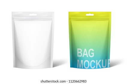 Set of realistic doy pack with mock up isolated on white background. Vector illustration. Front view. Can be use for template your design, presentation, promo, ad. EPS 10.