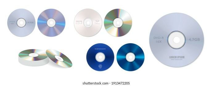 set of realistic dvd high speed or cd disc isolated or stack of compact disc realistic storage disc concept. eps 10 vector