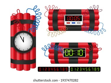 set of realistic dynamite with burning wick or realistic bomb firecrackers or red bomb  fireworks with burning fuse. eps 10 vector