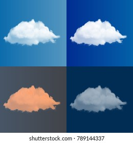 Set of realistic editable vector clouds, in dark and bright sky made with a gradient mesh