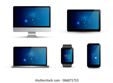 Set of realistic electronic gadgets. Abstract blue wallpaper. Computer monitor, laptop,smart watch, mobile phone, tablet. Isolated vector illustration. Mock up template.