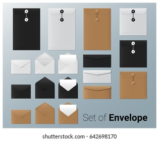 Set of realistic envelope , vector, illustration