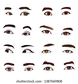 set of realistic eye vector collection