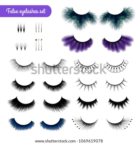 c39e2b8ef9b Set of realistic false eye lashes of various shape and color isolated on  white background vector