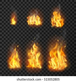 Set of realistic fire flames of various size with sparks on transparent background isolated vector illustration