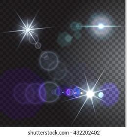 Set of realistic flares on transparent background. Vector illustration.