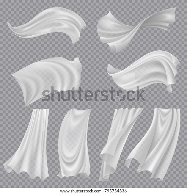 Set of realistic fluttering white cloths, soft lightweight clear material isolated on transparent background vector illustration