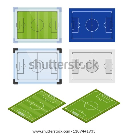 Set Realistic Football Field Template Playground Stock Vector
