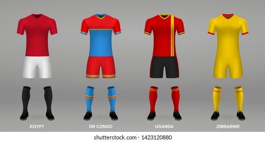 Set of realistic football kits Egypt, DR Congo, Uganda, Zimbabwe, shirt template for soccer jersey. Vector illustration