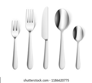 Set of realistic forks, knife and spoon isolated on white. Vector illustration ready and simple to use for your design. EPS10.