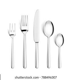 Set of realistic forks, knife and spoon isolated on white. Vector illustration ready and simple to use for your design.