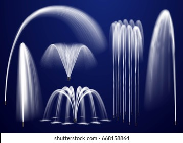 Set of realistic fountains including single jets and combination of streams on blue background isolated vector illustration