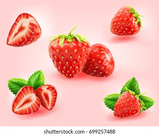 a set of realistic fresh strawberry with leaves, fruit cut in half, fruit without their calyx, isolated on light pink background.