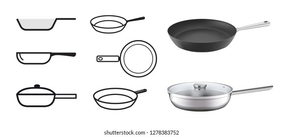 Set realistic frying pans with icons. Vector illustration isolated on white background. Ready for use in presentation, promo, advertising and more. EPS10.