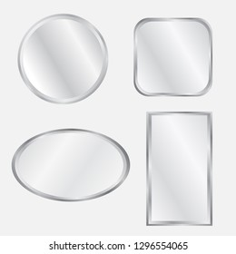Set of realistic geometrical mirrors. Chrome frame. Vector illustration of different forms with blurry reflection.