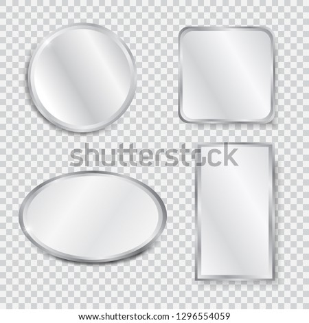 Set Realistic Geometrical Mirrors Chrome Frame Stock Vector