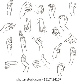 set of realistic gestures hand shape. black ley stroke logo graphic art design isolated on white. concept of stop, help, rock, symbol v, right left, animated number one, two, three, four, five, zero