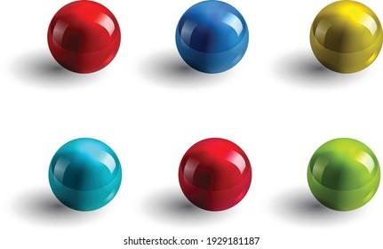 set of realistic glass ball vector illustrator