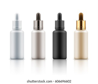 Set of realistic glass bottles with dropper. Cosmetic flask or vials for organic aroma oil, anti-aging essential, collagen serum for beauty. Mock up vector flacons illustration isolated on white