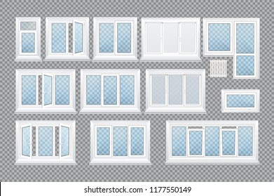 Set of realistic glass transparent plastic windows with window sills, sashes. White home, office windows, with one, two, three, five sections, roller blind, handle for adjustment. Vector illustration.