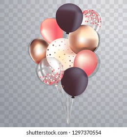 Set of realistic glossy metallic and transparent ballons for greeting cards design, sale banners, social media posts
