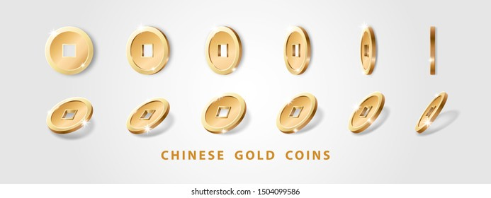 Set of realistic gold chinese coins with hole isolated on a white background. Decoration elements for oriental New Year design. Talisman for wealth and prosperity in Feng Shui. Vector illustration
