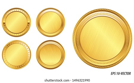 set of realistic gold coin.