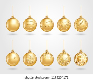 Set of realistic golden Christmas balls with different patterns of sequins. Vector illustration