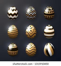 Set of realistic golden shine eggs, Happy Easter. Vector illustration