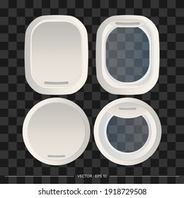 Set of Realistic gray portholes isolated on a white background. Open and closed window of a spaceship or airplane. Vector illustration