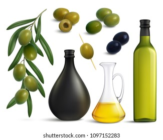 Set of realistic green and black olives and oil in glass jug and bottles isolated vector illustration