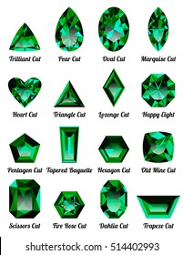 Set of realistic green emeralds with complex cuts isolated on white background. Jewel and jewelry. Colorful gems and gemstones. Trilliant, pear, oval, marquise, heart, triangle, lozenge, happy eight.