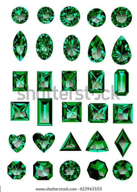 Set Realistic Green Jewels Colorful Green Stock Vector