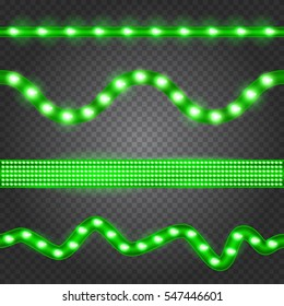 Set of realistic green neon or led glowing light stripes on transparent background. Horizontal seamless objects.