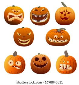 Set of realistic halloween pumkings, 3d jack lantern vector collection.