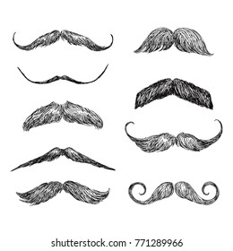 Set of realistic hand drawn vector mustache in black and white illustration