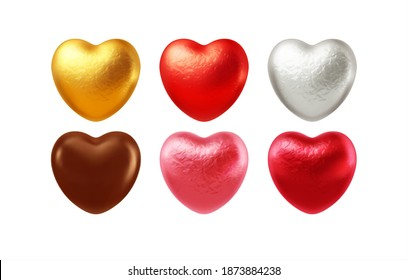 Set of realistic heart shaped chocolates wrapped in foil candy wrapper. Festive design element for Happy Valentines Day. Vector illustration EPS10