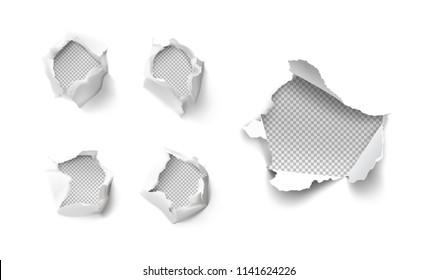 Set of realistic holes in paper isolated on white background. Vector illustration elements ready for your design. EPS10.