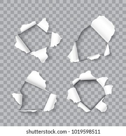 Set of realistic holes in sheet paper isolated on transparent background, vector design element for promo and advertising