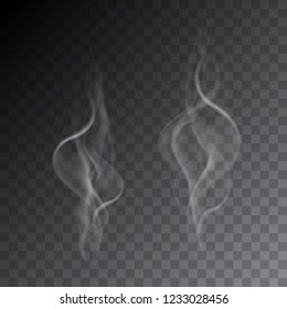 Set of realistic illustrations of smoke from cigarettes or hot drink, isolated on a transparent background - vector