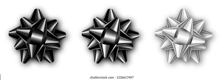 Set of realistic isolated black, silver and white bow with shadow. Template for a celebration. Vector illustration for your design