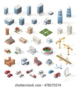 Set of Realistic Isometric High Quality City Element for Map. Buildings.