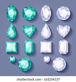 Set of realistic jewels. Colorful gemstones - white and green.