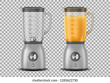 Set of Realistic Juicer blender. Kitchen blender with orange juice and empty, drink 3d mixer isolated. vector illustration