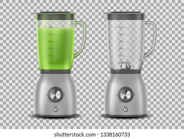 Set of Realistic Juicer blender. Kitchen blender with organic green vegetable juice and empty, drink 3d mixer isolated. vector illustration